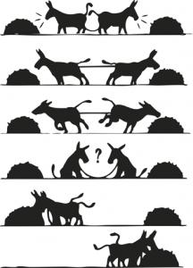 Esel, die an einem Strang ziehen